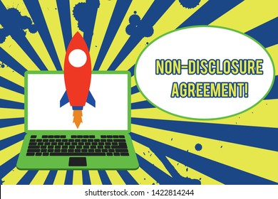 Text sign showing Non Disclosure Agreement. Conceptual photo Legal Contract Confidential Material or Information Launching rocket up laptop . Startup project. Developing goal objectives.