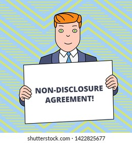 Text sign showing Non Disclosure Agreement. Conceptual photo Legal Contract Confidential Material or Information Smiling Man Holding Formal Suit Big Blank Poster Board in Front of Himself.