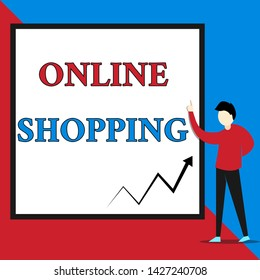 Text sign showing Online Shopping. Conceptual photo allows consumers to buy their goods over the Internet View young man standing pointing up blank rectangle Geometric background.