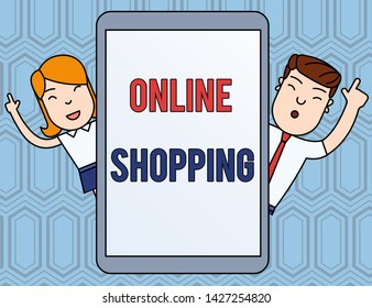 Text sign showing Online Shopping. Conceptual photo allows consumers to buy their goods over the Internet Male and Female Index Fingers Up Touch Screen Tablet Smartphone Device.