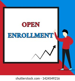 Text sign showing Open Enrollment. Conceptual photo The yearly period when showing can enroll an insurance View young man standing pointing up blank rectangle Geometric background.