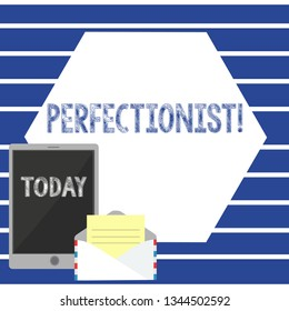 Text sign showing Perfectionist. Conceptual photo Person who wants everything to be perfect Highest standards Open Envelope with Paper and Blank Tablet Screen on Colorful Blank Space.