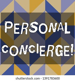Text sign showing Personal Concierge. Conceptual photo someone who will make arrangements or run errands 3D Formation of Geometric Shapes Creating Cubes and Blocks with Perspective.