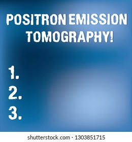 Text sign showing Positron Emission Tomography. Conceptual photo Nuclear medicine functional imaging technique Blurry Light Flashing Glaring on Blank Blue Hazy Space for Poster Wallpaper.