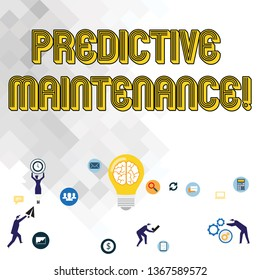 Text sign showing Predictive Maintenance. Conceptual photo maintenance strategy driven by predictive analytics Business Digital Marketing Symbol, Element, Campaign and Concept Flat Icons.