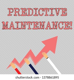 Text sign showing Predictive Maintenance. Conceptual photo maintenance strategy driven by predictive analytics Three Hands Holding Colorful Zigzag Lightning Arrow Pointing and Going Up.