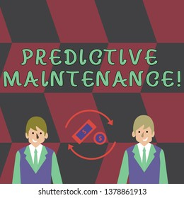 Text sign showing Predictive Maintenance. Conceptual photo maintenance strategy driven by predictive analytics Money in Dollar Currency Sign Inside Rotating Arrows Between Two Businessmen.
