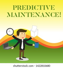 Text sign showing Predictive Maintenance. Conceptual photo Predict when Equipment Failure condition might occur Stressed Out Male Employee Manager Many Armed Multitasking Meet Deadline.