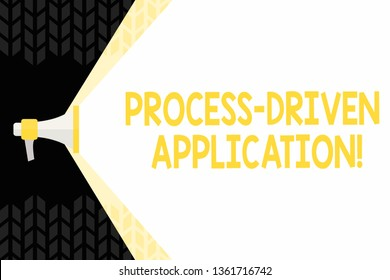 Text sign showing Process Driven Application. Conceptual photo workflow engine where process can be exposed Megaphone Extending the Capacity of Volume Range thru Blank Space Wide Beam.