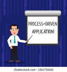 Text sign showing Process Driven Application. Conceptual photo workflow engine where process can be exposed Man in Necktie Talking Holding Stick Pointing to Blank White Screen on Wall.