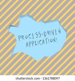 Text sign showing Process Driven Application. Conceptual photo workflow engine where process can be exposed Blank Pale Blue Speech Bubble in Irregular Cut Edge Shape 3D Style Backdrop.
