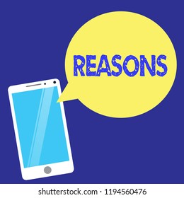 Text sign showing Reasons. Conceptual photo Causes Explanations Justifications for an action or event Motivation