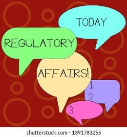 Text sign showing Regulatory Affairs. Conceptual photo the desire of governments to protect public health Many Color Speech Bubble in Different Sizes and Shade for Group Discussion.