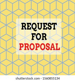 Text sign showing Request For Proposal. Conceptual photo document contains bidding process by agency or company Seamless Blue Blocks Cubes Yellow Background Depth Deepness Perspective.