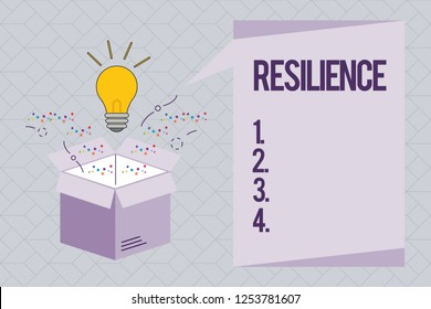 Text sign showing Resilience. Conceptual photo Capacity to recover quickly from difficulties Persistence
