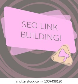 Text sign showing Seo Link Building. Conceptual photo getting other websites to link back your website Megaphone Inside Triangle and Blank Color Rectangle for Announcement.