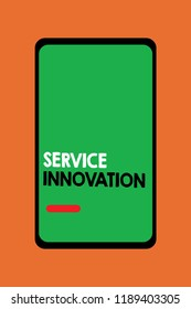 Text sign showing Service Innovation. Conceptual photo Improved Product Line Services Introduce upcoming trend