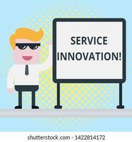 Text sign showing Service Innovation. Conceptual photo Improved Product Line Services Introduce upcoming trend Businessman Office Worker Sunglasses Blank Whiteboard Meeting Presentation.