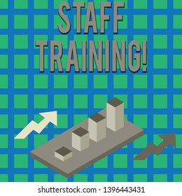 Text sign showing Staff Training. Conceptual photo program that is designed to increase the technical skills Colorful Clustered 3D Bar Chart Graph Diagram in Perspective with Two Arrows.