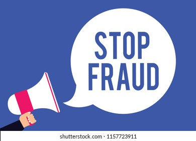 Text sign showing Stop Fraud. Conceptual photo campaign advices people to watch out thier money transactions Man holding megaphone loudspeaker speech bubble screaming blue background.
