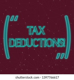 Text sign showing Tax Deductions. Conceptual photo amount or cost that can be subtracted from someone s is income Seamless Digital Array of Nodes with Connecting Lines Forming Uneven Grid.