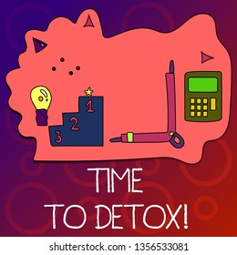 Text sign showing Time To Detox. Conceptual photo when you purify your body of toxins or stop consuming drug Set of Professional Goal Icons for Planning, Advancement and Recognition.