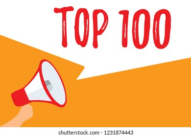 Text sign showing Top 100. Conceptual photo List of best products services Popular Bestseller Premium high rate Megaphone loudspeaker speech bubbles important message speaking out loud.