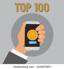 Text sign showing Top 100. Conceptual photo List of best products services Popular Bestseller Premium high rate