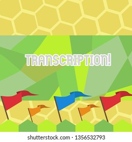Text sign showing Transcription. Conceptual photo Written or printed process of transcribing words text voice Blank Solid Colorful Pennant Streamer Flag on Stick Mounted on Picket Fence.
