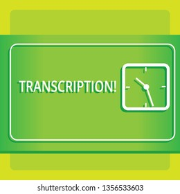 Text sign showing Transcription. Conceptual photo Written or printed process of transcribing words text voice Modern Design of Transparent Square Analog Clock on Two Tone Pastel Backdrop.