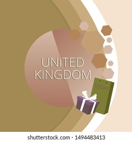 Text sign showing United Kingdom. Conceptual photo Island country located off the northwestern coast of Europe Greeting Card Poster Gift Package Presentation Box Decorated by Bowknot.