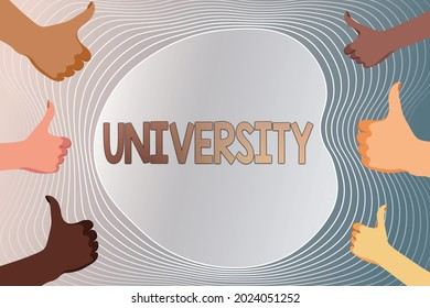 Text sign showing University. Word for an educational institution designed to teach and investigate Creating And Sending Email Message Online, Data Processing Jobs