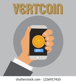 Text sign showing Vertcoin. Conceptual photo Cryptocurrency Blockchain Digital currency Tradeable token