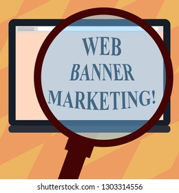 Text sign showing Web Banner Marketing. Conceptual photo entails to embed an advertisement in a web page Magnifying Glass Enlarging Tablet Blank Color Screen photo text Space.