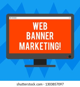 Text sign showing Web Banner Marketing. Conceptual photo entails to embed an advertisement in a web page Blank Computer Desktop Monitor Color Screen Mounted with Progress Bar.