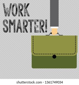 Text sign showing Work Smarter. Conceptual photo its better to efficient and productive than waste time Businessman Hand Carrying Colorful Briefcase Portfolio with Stitch Applique.