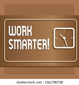 Text sign showing Work Smarter. Conceptual photo its better to efficient and productive than waste time Modern Design of Transparent Square Analog Clock on Two Tone Pastel Backdrop.