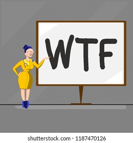 Text sign showing Wtf. Conceptual photo offensive slang written abbreviation to show surprise and astonishment