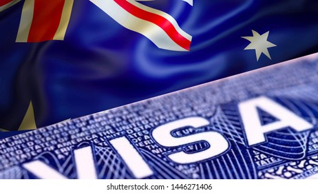 text VISA on Australian visa stamp in passport, 3D rendering. passport traveling abroad concept. Travel to Australian concept - selective focus. Immigration and emigration concept. Close up