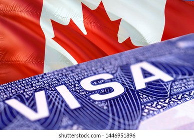text VISA on Canada visa stamp in passport, 3D rendering. passport traveling abroad concept. Travel to Canada concept - selective focus. Immigration and emigration concept. Close up Canada visa