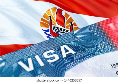 text VISA on French Polynesia visa stamp in passport, 3D rendering. passport traveling abroad concept. Travel to French Polynesia concept - selective focus. Immigration and emigration concept