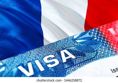 text VISA on French visa stamp in passport, 3D rendering. passport traveling abroad concept. Visit, Travel to French concept - selective focus. Immigration and emigration concept