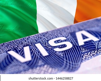 text VISA on Ireland visa stamp in passport, 3D rendering. passport traveling abroad concept. Visit, Travel to Ireland concept - selective focus. Immigration and emigration concept