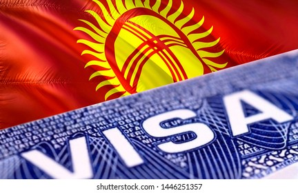 text VISA on Kyrgyzstan visa stamp in passport, 3D rendering. passport traveling abroad concept. Travel to Kyrgyzstan concept - selective focus. Immigration and emigration concept