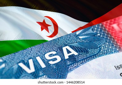 text VISA on Western Sahara visa stamp in passport, 3D rendering. passport traveling abroad concept. Travel to Western Sahara concept - selective focus. Immigration and emigration concept