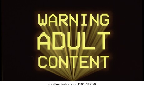 The text Warning adult content on a black background, film style.