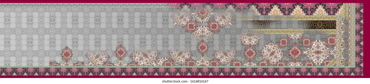 Textile Digital Print Tradition Geometric Saree Design With Background texture  and Rugs Motif