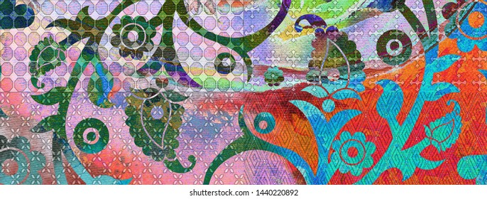 Textile Fabric Material, Multi color Digital Wall Tile, Courtside Market Bohemian Vintage Gallery Canvas Wall Art, Abstract Wall Art, Home Decor, Colorful Heavily Mixed Abstract oil Painting