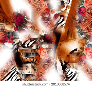 Textile Fabric Print Pattern, Cushion Designs, Dress Pattern Design, Leopard, Camouflage, Zebra, Baroque and Combination Patterns.