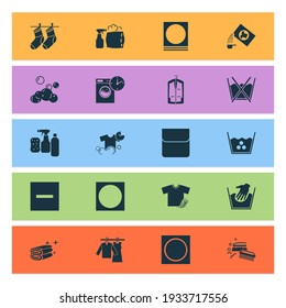 Textile icons set with do not wash, cleaning products, pillow cleaning and other high temperature elements. Isolated illustration textile icons.